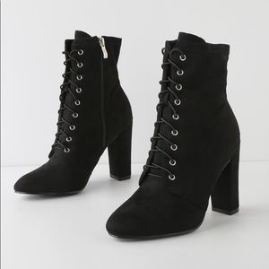 Black Suede Lace-Up Mid-Calf Booties